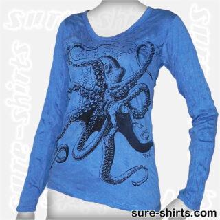 Octopus - Blue Women Long Sleeve Shirt