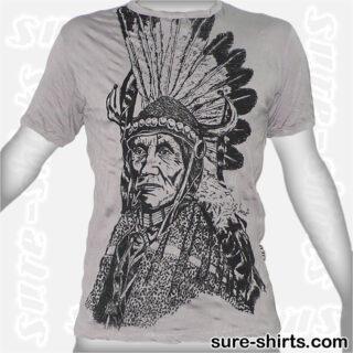 Native American Chief - Light Grey Tee size M
