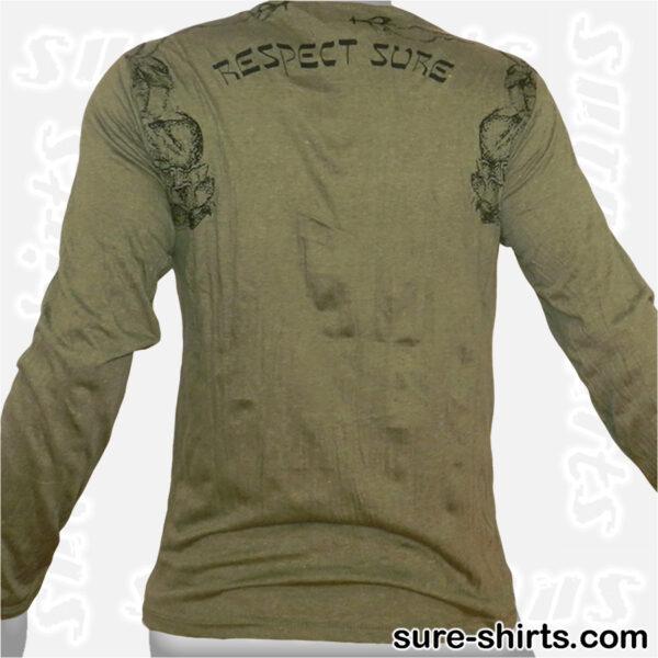 Buddha Respect - Olive Green Long Sleeve Shirt size M