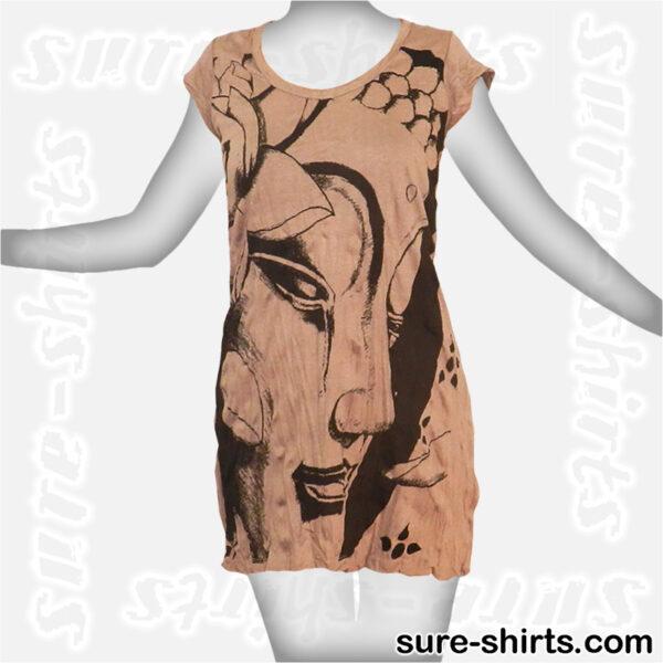 Weeping Buddha - Beige Women T Dress / Summer Dress