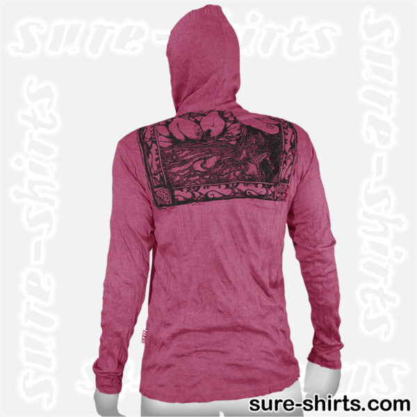 Buddha Tree Face - Ruby Red Long Sleeve Hoodie size M