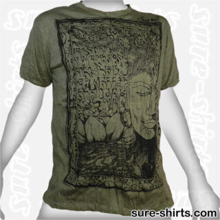 Buddha Tree Face - Olive Green Tee size L