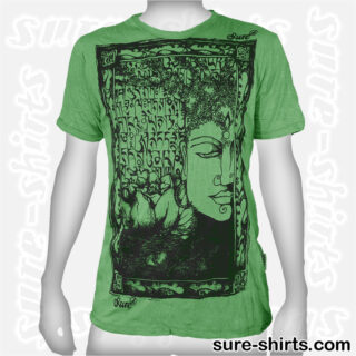 Buddha Tree Face - Green Tee size M