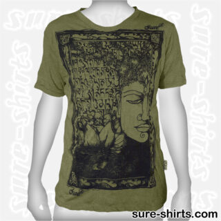 Buddha Tree Face - Olive Green Tee size M