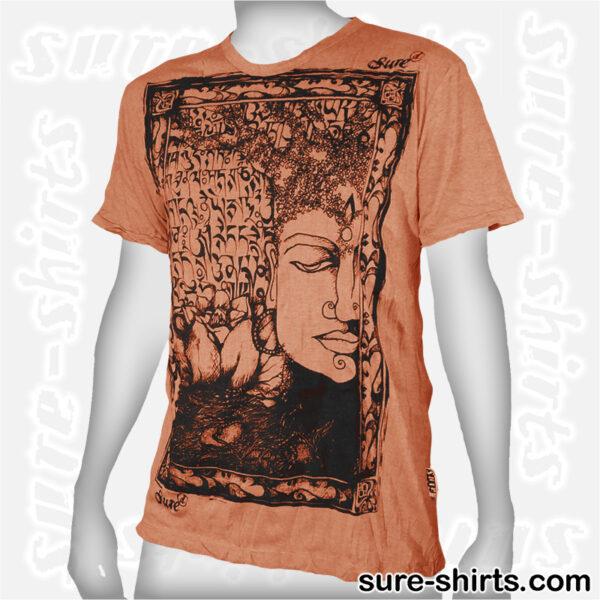 Buddha Tree Face - Orange Tee size M