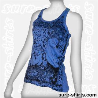 Buddha Tree Face - Blue Women Tank Top / Singlet