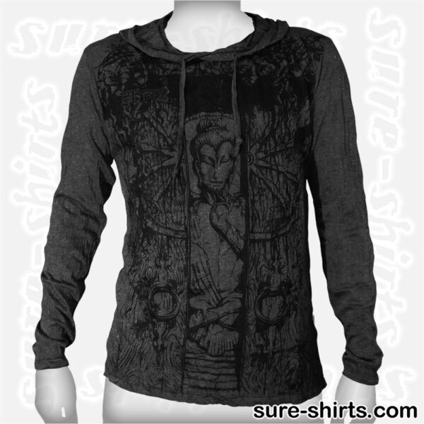 Buddha in Temple - Black Long Sleeve Hoodie size M