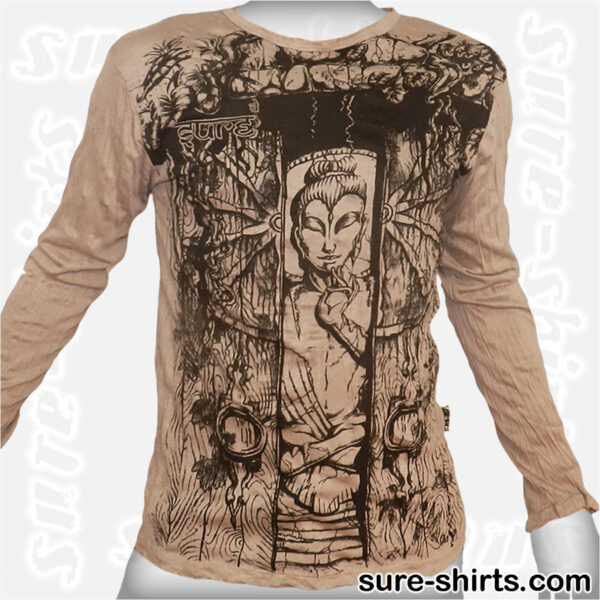 Buddha in Temple - Beige Long Sleeve Shirt size M