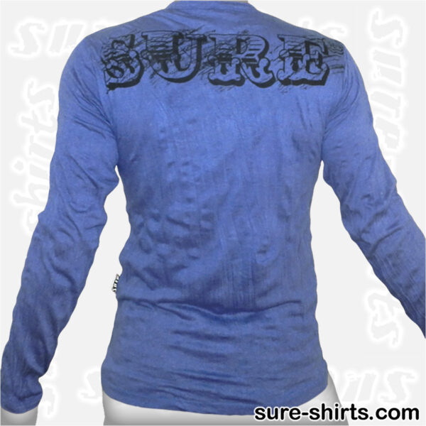 Buddha in Temple - Blue Long Sleeve Shirt size M
