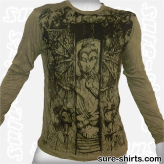 Buddha in Temple - Olive Green Long Sleeve Shirt size M
