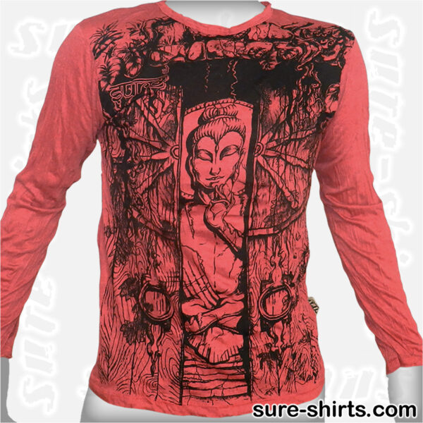 Buddha in Temple - Red Long Sleeve Shirt size M