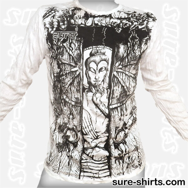 Buddha in Temple - White Long Sleeve Shirt size M