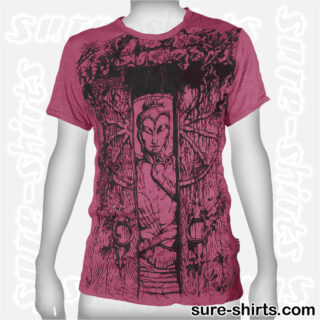 Buddha in Temple - Ruby Red Tee size M