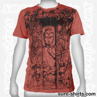 Buddha in Temple - Brown-Red Tee size M