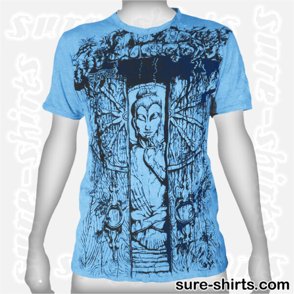 Buddha in Temple - Light Blue Tee size M