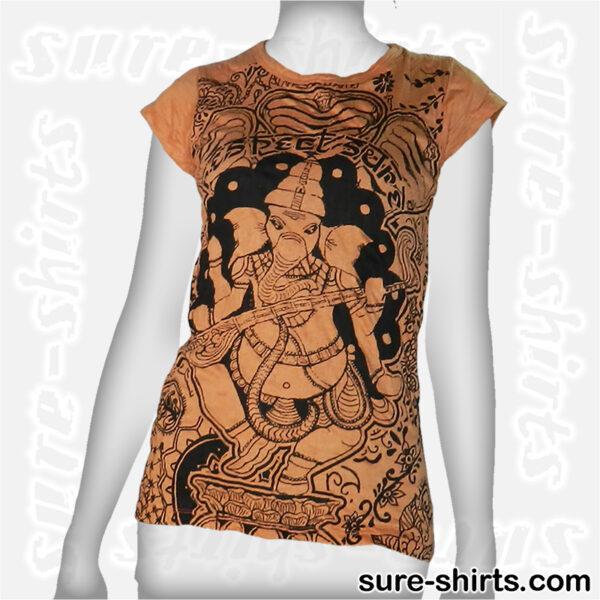 Ganesha Playing - Orange Women Tee