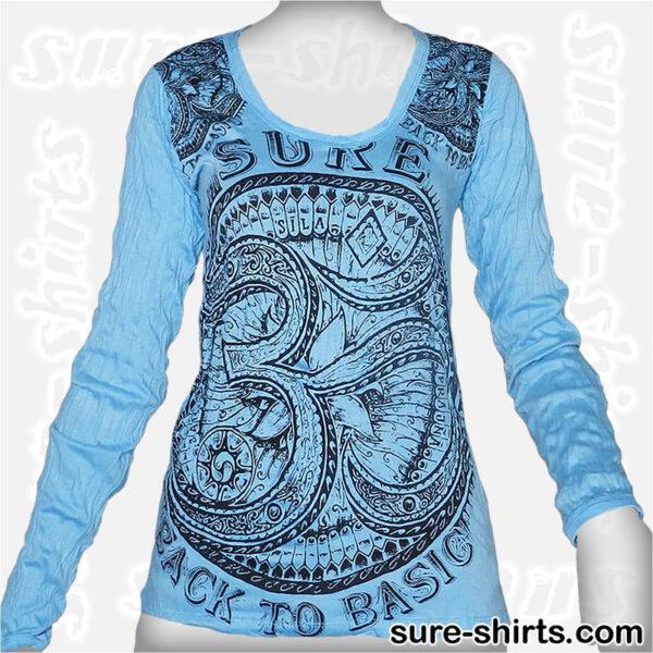 Om - Light Blue Women Long Sleeve Shirt