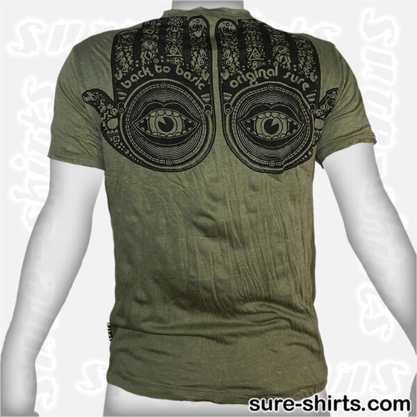 Buddha Hands - Olive Green Tee size M