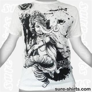 Dancing Ganesha - White Tee size M
