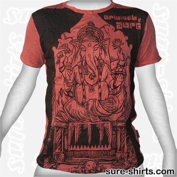 Meditating Ganesha - Brown-Red Tee size M