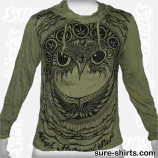 Cannabis Owl - Olive Green Long Sleeve Hoodie size M