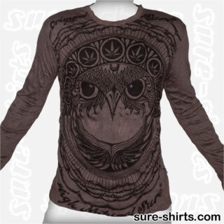 Cannabis Owl - Tinted Grey Long Sleeve Shirt size M