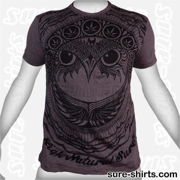 Cannabis Owl - Tinted Grey Tee size M