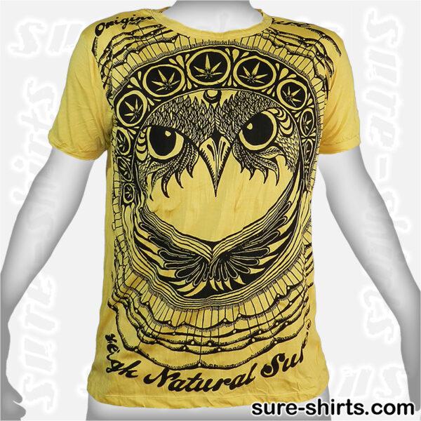 Cannabis Owl - Yellow Tee size M