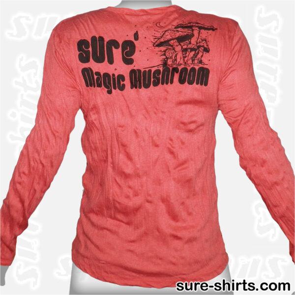 Magic Mushrooms - Red Long Sleeve Shirt size M