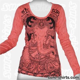 Cute Ganesha - Red Women Long Sleeve Shirt