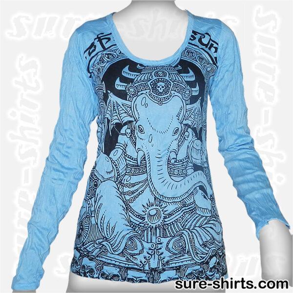 Cute Ganesha - Light Blue Women Long Sleeve Shirt
