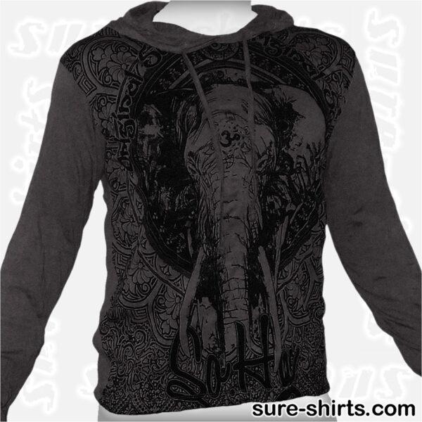 Elephant - Black Long Sleeve Hoodie size M