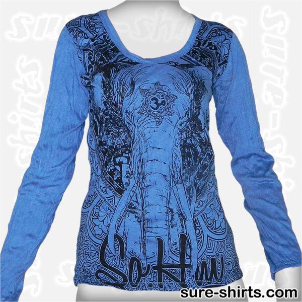 Elephant - Blue Women Long Sleeve Shirt