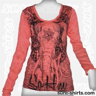 Elephant - Red Women Long Sleeve Shirt