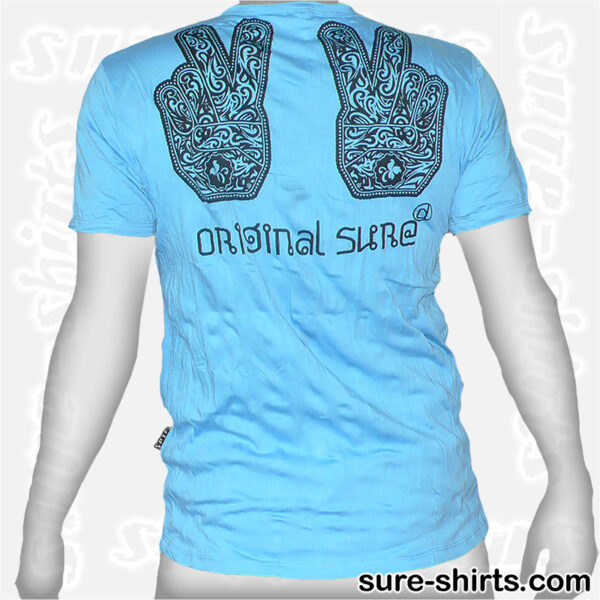 Victory / Piece Sign - Light Blue Tee size M