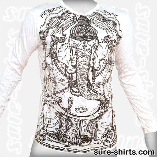 Wise Ganesha - White Long Sleeve Shirt size M