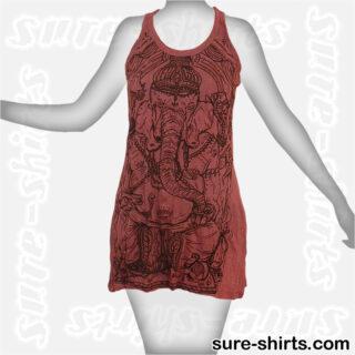 Wise Ganesha - Dark Red Women Tank Dress / Sundress