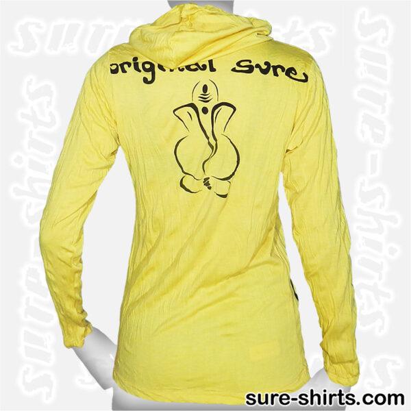 Ganesha Sketch - Yellow Women Long Sleeve Hoodie Shirt