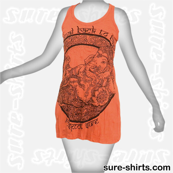 Cozy Ganesha - Orange Women Tank Dress / Sundress