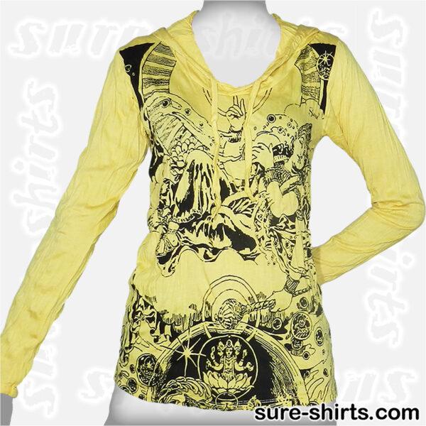 Auspicious Shiva - Yellow Women Long Sleeve Hoodie Shirt