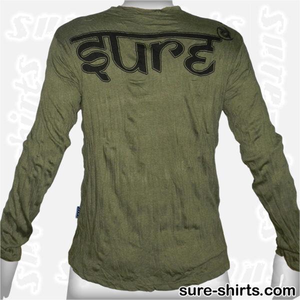 Protector Ganesha - Olive Green Long Sleeve Shirt size M