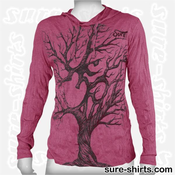 Om Tree Sketch - Ruby Red Long Sleeve Hoodie size M