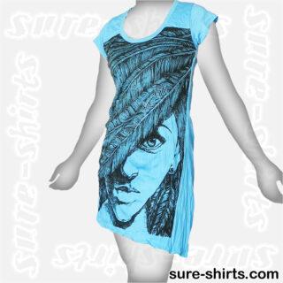 Feather Girl - Light Blue Women T Dress / Summer Dress