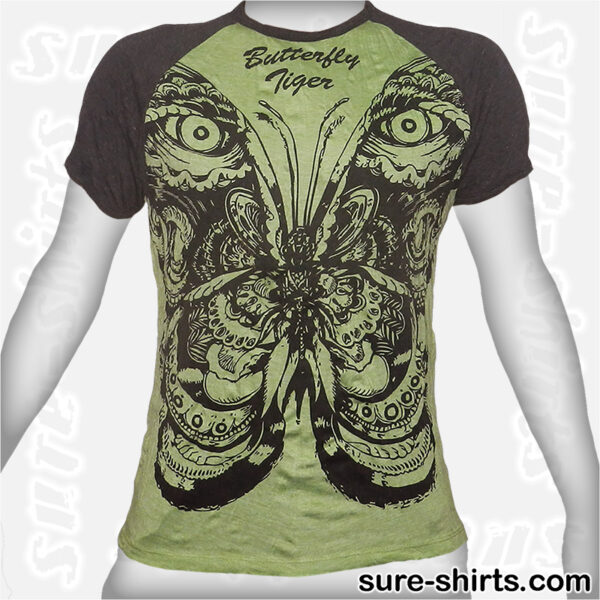 Butterfly Tiger Eyes - Light Green Tee size M