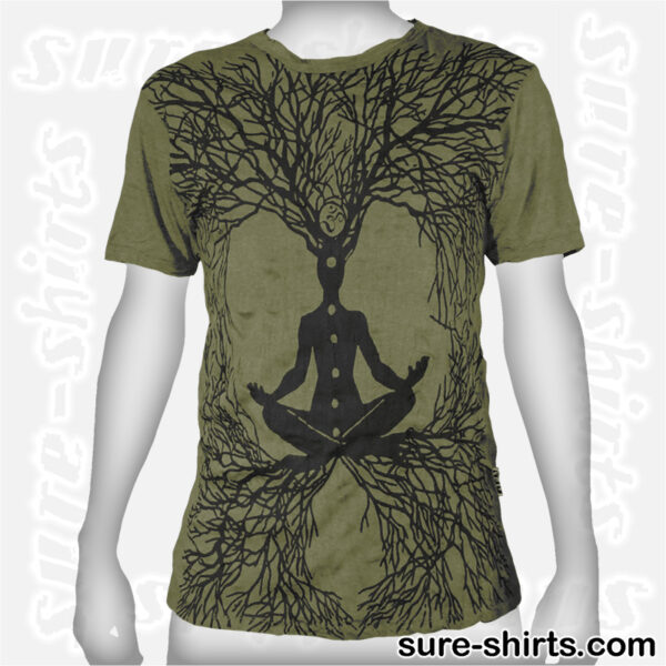 Root Chakra Tree - Olive Green Tee size M