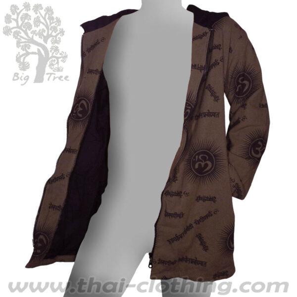 Dark Brown Cotton Hoody Coat - Om & Sanskrit - BIG TREE