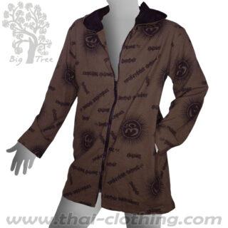 Dark Brown Cotton Hoodie Coat - Om & Sanskrit - BIG TREE