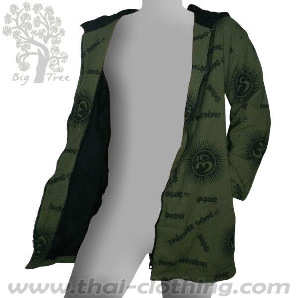 Dark Green Cotton Hoody Coat - Om & Sanskrit - BIG TREE