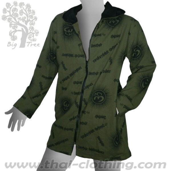 Dark Green Cotton Hoodie Coat - Om & Sanskrit - BIG TREE