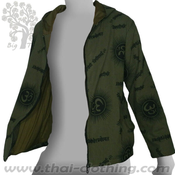 dark Green Cotton Hoody Jacket - Om & Sanskrit BIG TREE Thailand